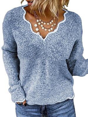 V Neck Plain Long Sleeve Knit Pullover