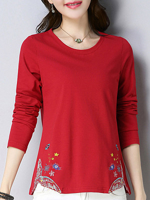 Round Neck Floral Printed Long Sleeve T-shirt, 11266105