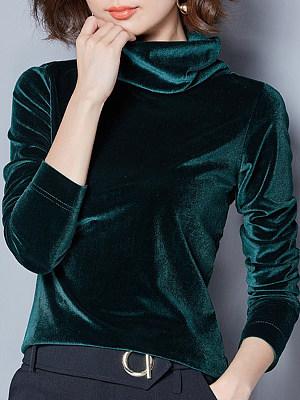 Heap Collar Casual Plain Long Sleeve T-Shirt, 10633340