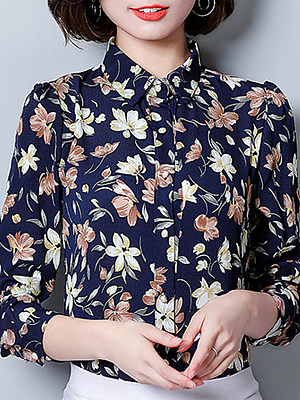 Turn Down Collar Floral Long Sleeve Blouse, 11226237