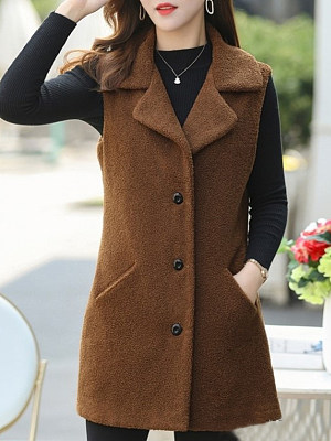 Women's Fashion Single-breasted Thick Solid Color Waistcoat фото