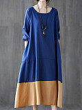Image of Loose Color Block Long Sleeve Round Neck Dress