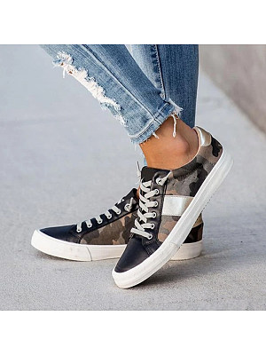 Women Camouflage Patchwork Lace-up Round Toe Sneakers, 11006163