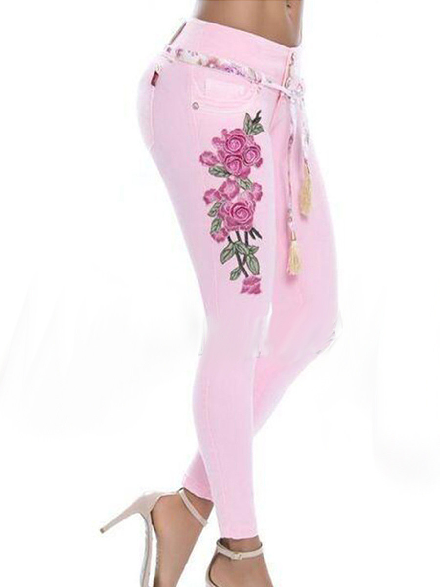 Fashionable multicolor embroidered stretch jeans casual pants