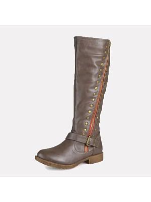 berrylook Women's rivet flat high boots
