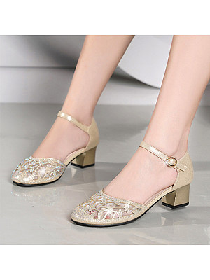 Elegant ladies rhinestone hollow thick heel sandals