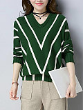 Women Casual V-neck Loose Striped Batwing Sleeve Sweater