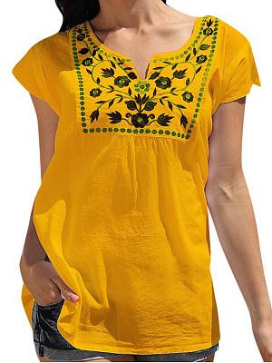V Neck Printed Short Sleeve Linen T-shirt, 11550054