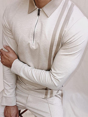 Color-matched striped long-sleeved polo shirt, 27467464, BERRYLOOK  - buy with discount