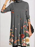 Image of Casual Floral Tunic High Neckline A-line Dress