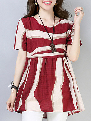 Round Neck Printed Short Sleeve Linen T-shirt, 11308881
