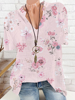 V Neck Floral Print Short Sleeve Blouse, 24361174
