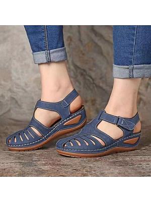 Vintage Roman Shoes Round Toe Wedge Sandals, 23597627