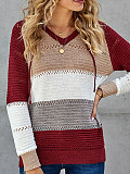 Image of Hat Collar Color Block Long Sleeve Knit Pullover