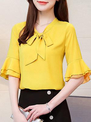 Tie Collar Plain Bell Sleeve Blouse, 11591383