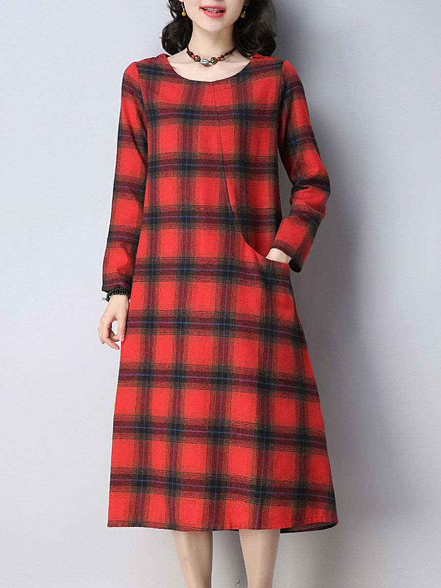Japanese and Korean style round neck plaid dress - from $23.95
