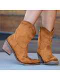 Women's Casual Solid Color Star Print Boots
