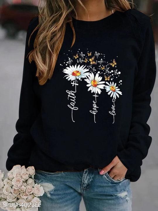 Round Neck Sunflower Print Long Sleeve Sweatshirt