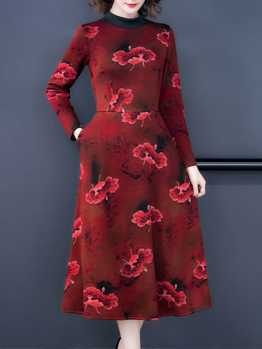 Lady mandarin collar floral a-line midi dress - from $15.95