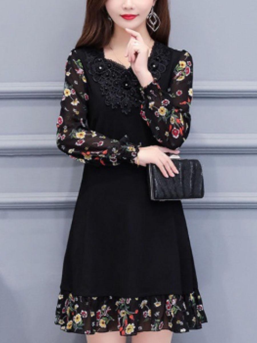 New Korean fashion printed mid-length dress