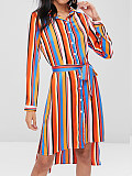 Image of Long Sleeve Striped Waist Dress