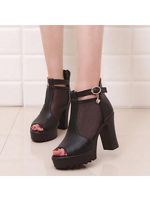 Women's Sexy Solid Color Mesh Buckle High Heels, 11058218