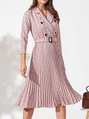 V-neck plaid Skater Dress, 10063745