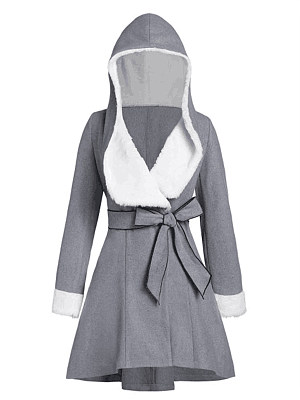 Women's Casual Lace Up Hooded Coat gender:female, season:autumn,winter,spring, texture:polyester, sleeve_length:long sleeve, sleeve_type:regular sleeve, style:japan and south korea, collar_type:hat collar, dress_occasion:daily, bust:110,clothing length:83,shoulder width:41,