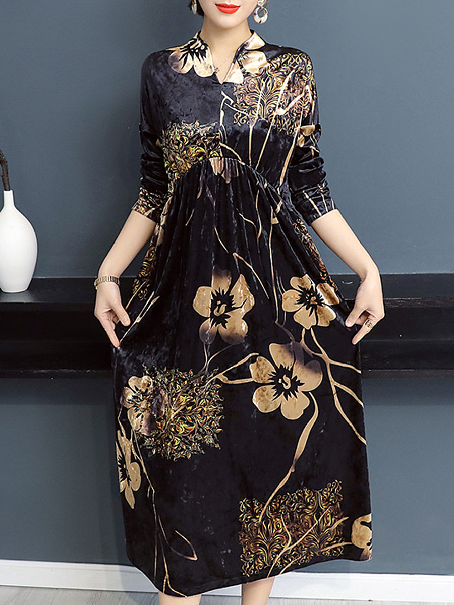 Women's long sleeve printed dress - from $15.95