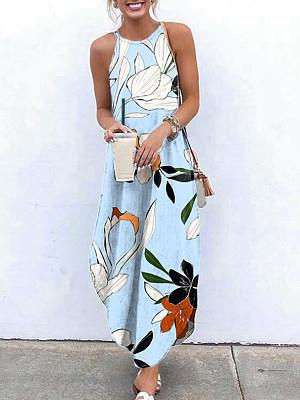 Ladies Sling Print Casual Maxi Dress