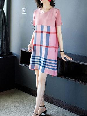 Berrylook New skirt simple printed short-sleeved dress plaid clothing stores, shop, shift dress, floral shift dress