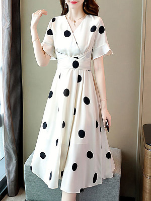 Berrylook Spring And Summer Polka Dot Short-sleeved Dress online shopping sites, shop, long sleeve dress, floral maxi dress