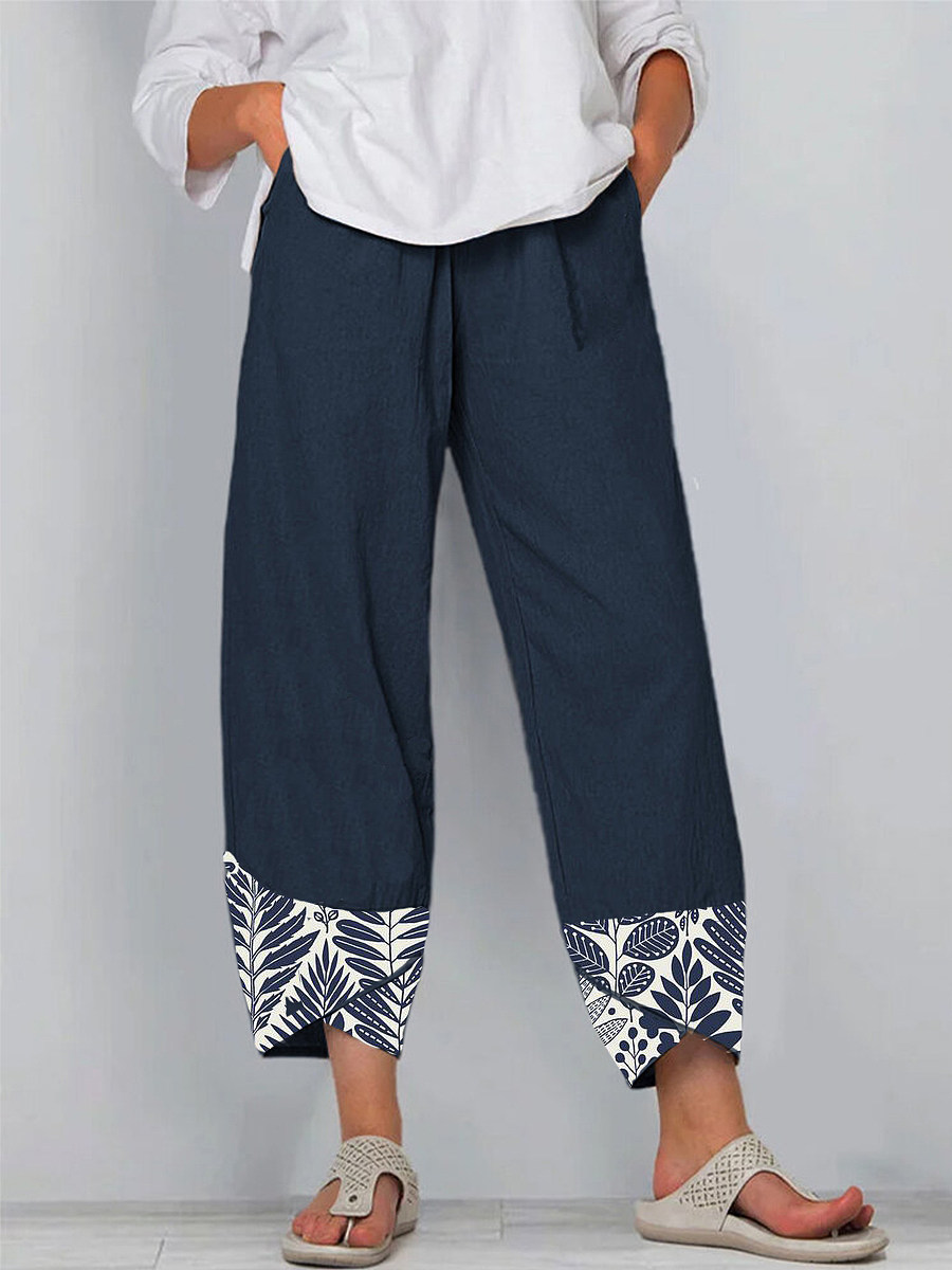 Spring and summer new fashion printed cotton and linen casual pants