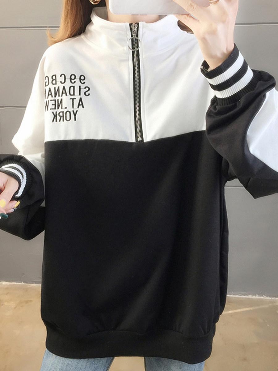 Fashion Colorblock Stand Collar Sweater