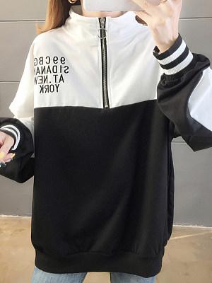 Fashion Colorblock Stand Collar Sweater, 11410719