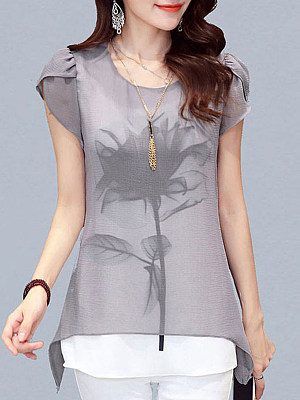 Round Neck Patchwork Short Sleeve Blouse, 11332371