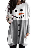 Image of Printed Pullover Round Neck Long Sleeve Dress