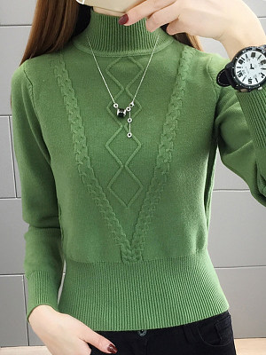 Short High Collar Elegant Plain Long Sleeve Knit Pullover, 10887194