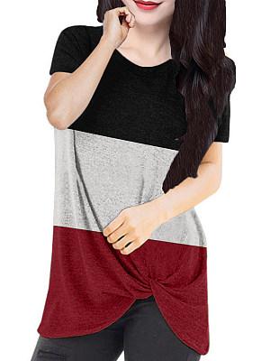 Round Neck Color Block Short Sleeve T-Shirt, 11256242