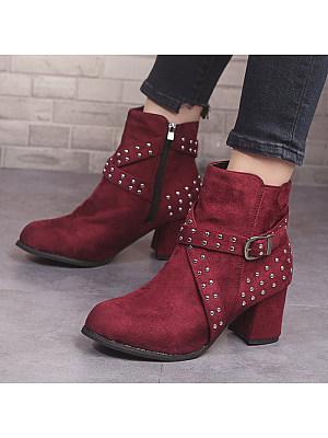 berrylook Vintage Women Rivet Belt Buckle Thick Heel Boots