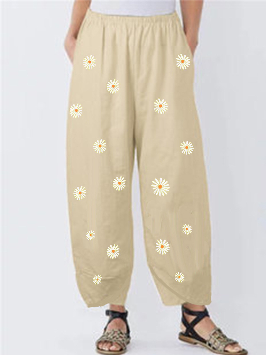 BerryLook Fresh flowers printed cotton and linen wide-leg pants casual pants