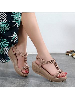 Women's Elastic Wedge Platform Flower Sandals, 11059877