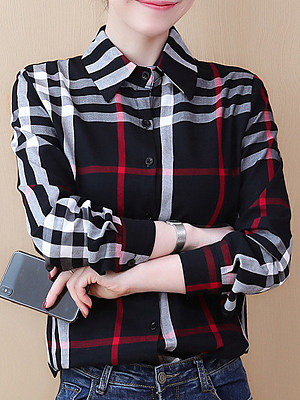 Turn Down Collar Plaid Long Sleeve Blouse, 11215243