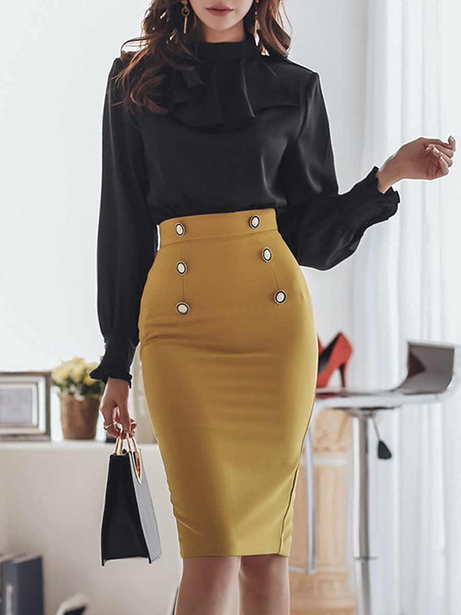 Modern Round Neck Pure Color Long Sleeve Dress - from $24.95
