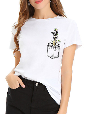100% Cotton Round Neck Panda Printed Short Sleeve T-shirt фото