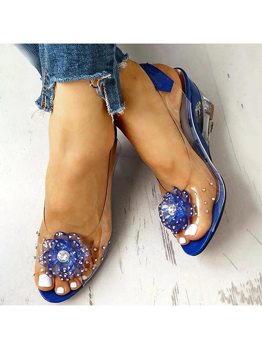 BerryLook Women's bohemian clear crystal rhinestone flower wedge sandals