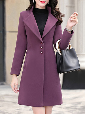 Women solid color lapel slim Purple Coat gender:female, season:autumn,winter,spring, collar:lapel collar, style:japanese and korean style, dress_occasion:daily, bust:108,clothing length:94,shoulder width:41,