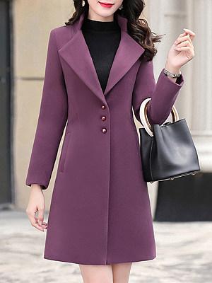Women solid color lapel slim Purple Coat фото