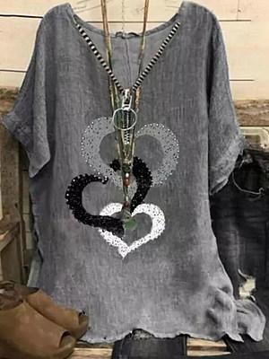 Womens V-neck Print Short-sleeved Cotton And Linen Blouse