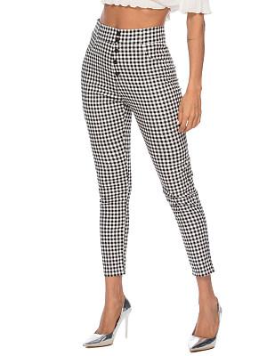 High waist plaid slim slacks, 23709297
